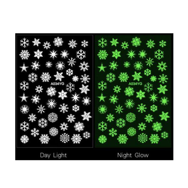 Nailart Sticker Schneeflocken Nachtleuchtend